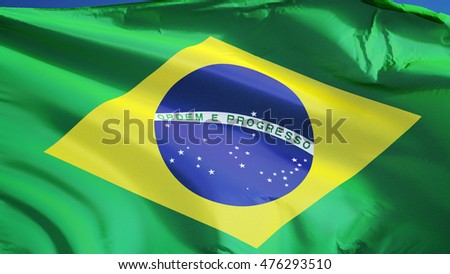 Brazil flag waving against clean blue sky, close up, isolated with clipping mask alpha channel transparency