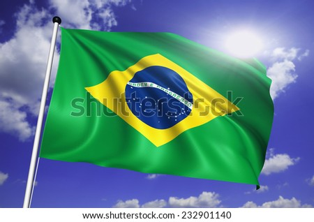 Brazil flag with fabric structure against a cloudy sky
