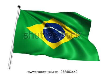 Brazil flag with fabric structure on white background