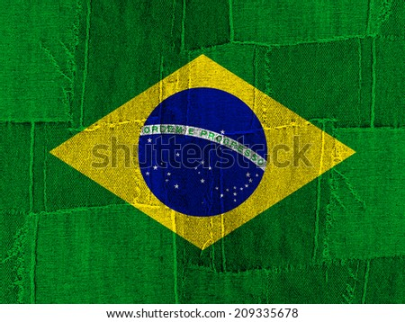 Brazil flag with jeans and texture background