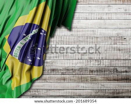 Brazil Flag with wood horizontal - stock photo