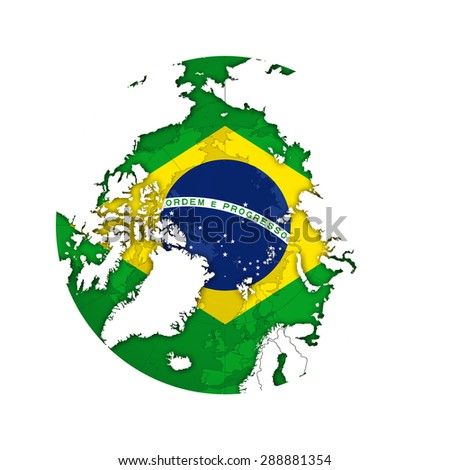 Brazil flag with world map and white background - stock photo
