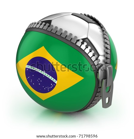 Brazil football nation - football in the unzipped bag with Brazilian flag print - stock photo