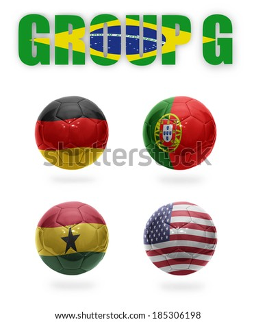 Brazil. Group G. Realistic Football balls with national flags of Germany,Portugal, Ghana, USA - stock photo