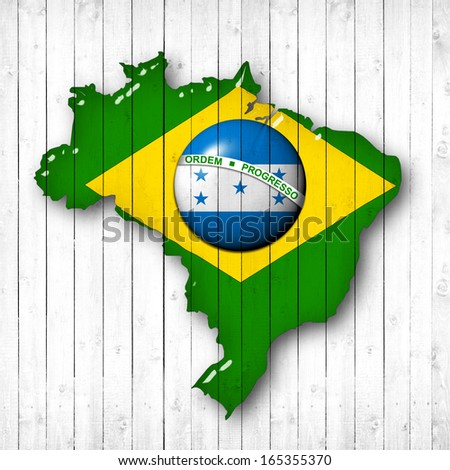 brazil, Honduras flag map, wood white background - stock photo