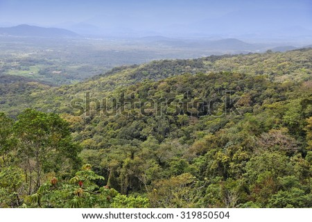 Brazil - jungle in Parana region. Marumbi mountains in Serra do Mar range. Rainforest hills. - stock photo