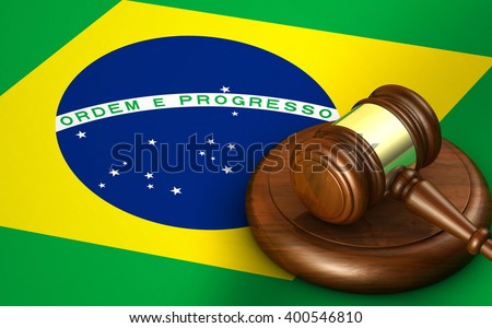 Brazil law, legal system and justice concept with a 3D rendering of a gavel and the Brazilian flag on background. - stock photo
