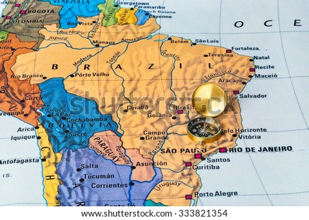 Brazil map and compass - travel background - stock photo