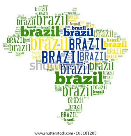 Brazil map and words cloud
