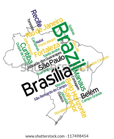 Brazil map and words cloud with larger cities; vector version is also available - stock photo