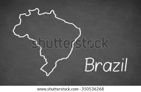 Brazil map drawn on chalkboard. Chalk and blackboard. - stock photo