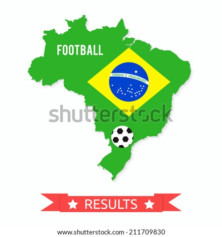 Brazil map in the colors of the flag with soccer ball and text of Brazil football championship results. Raster version - stock photo