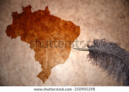 Brazil map on vintage paper with old pen - stock photo