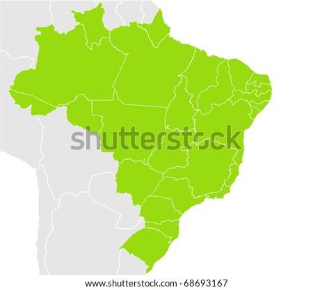 Brazil Map Split Into States Provinces Stock Illustration - Brazil map illustration