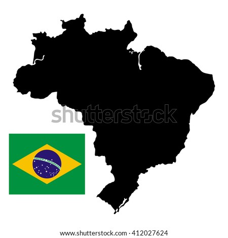 Brazil map with official national flag on a white background - stock photo