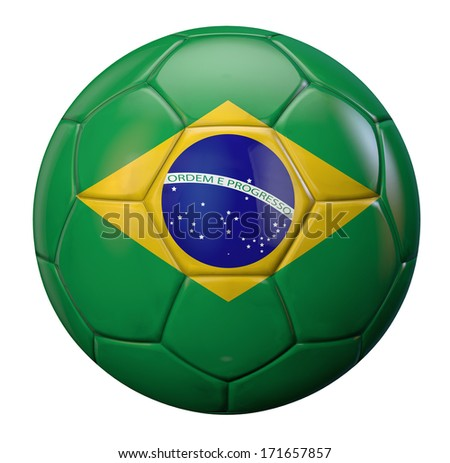 Brazil national flag football isolated. Clipping path included.