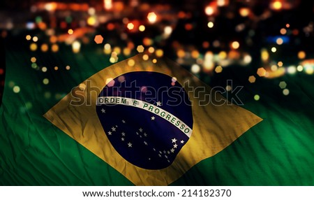 Brazil National Flag Light Night Bokeh Abstract Background - stock photo