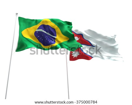 Brazil & Nepal Flags are waving on the isolated white background - stock photo