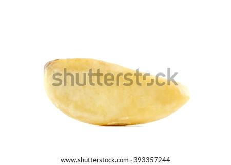 brazil nut close-up isolated on white background - stock photo