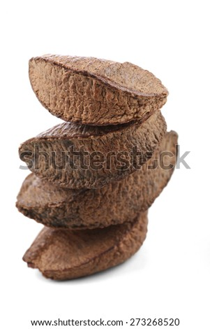 Brazil nut on white background