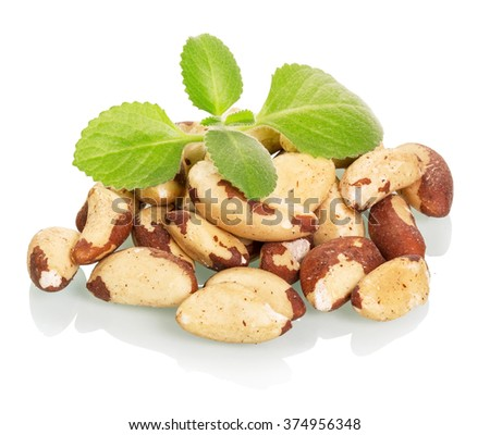 Brazil nuts and leaves isolated on white background - stock photo