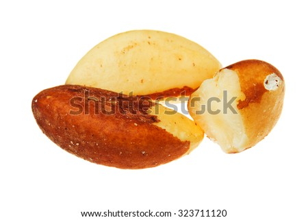 Brazil nuts isolated on white background. - stock photo