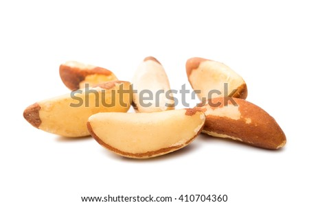 Brazil nuts isolated on white background - stock photo