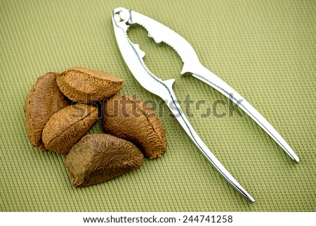 Brazil nuts with nut cracker on textured background - stock photo