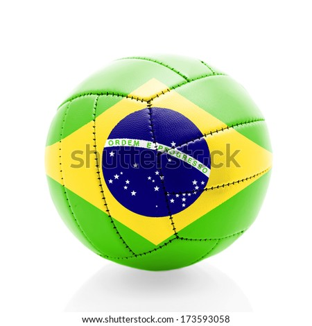 Brazil old soccer ball isolated on white background. - stock photo