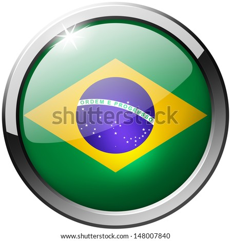 Brazil Round Metal Glass Button - stock photo