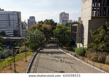 Brazil, Sao Paulo: View from the top of Centro Cultural Sao Paulo on a sunny sunday