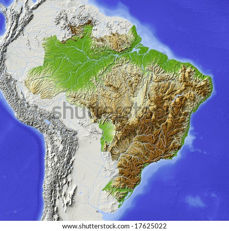 Brazil. Shaded relief map with major urban areas. Surrounding territory greyed out. Colored according to elevation. Includes clip path for the state area. Data source: NASA