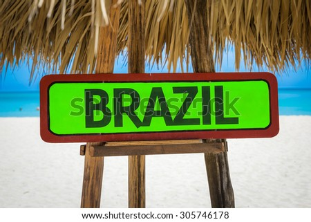 Brazil sign with beach background - stock photo