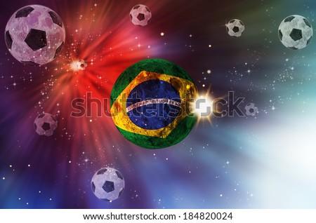 brazil soccer in galaxy of ball - stock photo