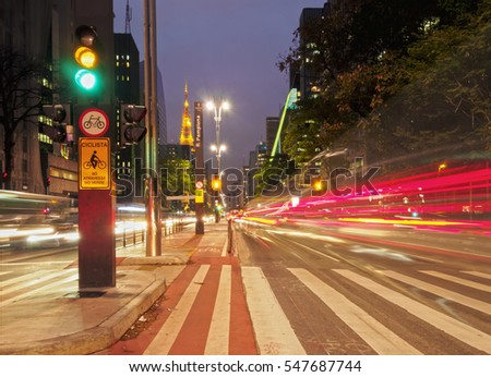 Brazil, State of Sao Paulo, City of Sao Paulo, Twilight view of the Paulista Avenue.