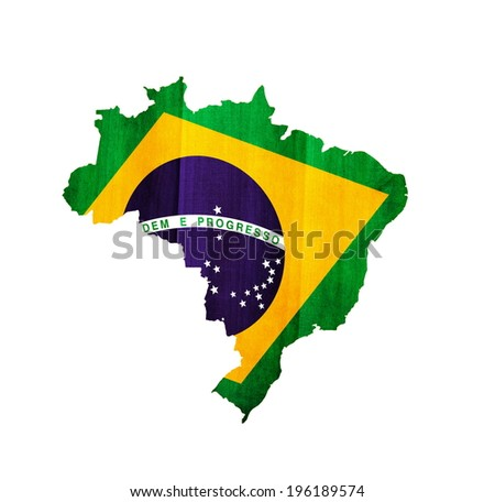 Brazil textured map with flag - stock photo
