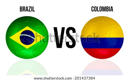 Brazil VS Colombia soccer ball concept isolated on white background with reflection - stock photo