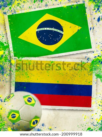 Brazil vs Columbia ball concept                               - stock photo