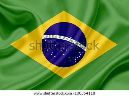 Brazil waving flag - stock photo