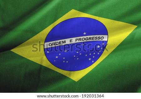 Brazil waving flag  - stock photo