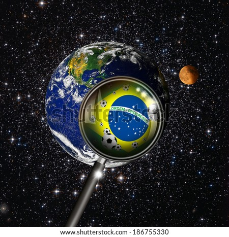 """Brazil with magnifying glass """"Elements of this image furnished by NASA""""  - stock photo"""