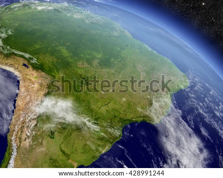 Brazil with surrounding region as seen from Earth's orbit in space. 3D illustration with highly detailed planet surface and clouds in the atmosphere. Elements of this image furnished by NASA.