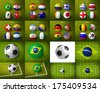 Brazil 2014 world cup groups. Soccer balls with world flags on them and much more. - stock photo