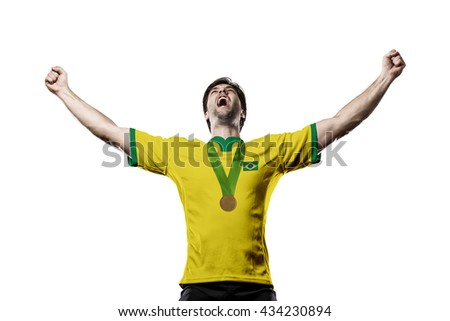 Brazilian Athlete Winning a golden medal on a white Background.