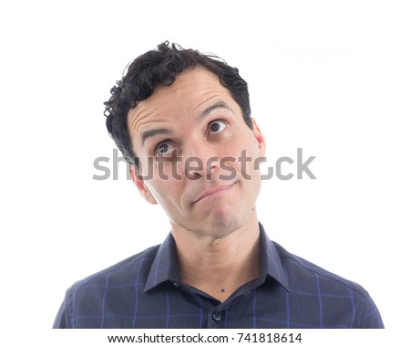 Brazilian consumer is pensive. The person is Caucasian and is wearing blue button-down shirt. Isolated. White background.