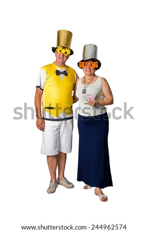 Brazilian couple smiling in a 2015 New Year on white background - stock photo