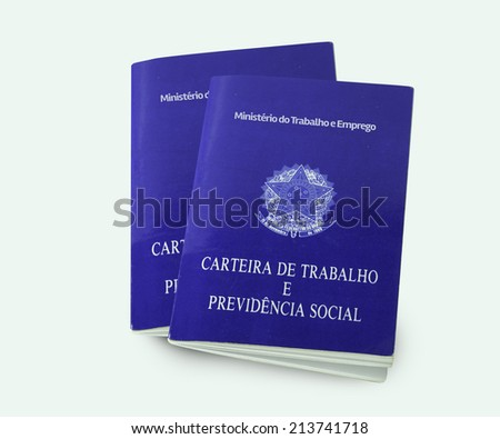 Brazilian document work and social security ( Carteira de Trabalho e Previdencia Social) on white background - stock photo