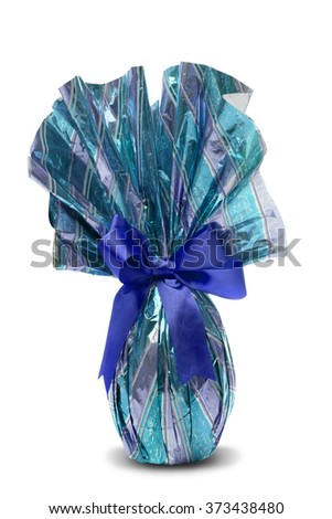 Brazilian Easters Egg in blue isolated on a white background - stock photo