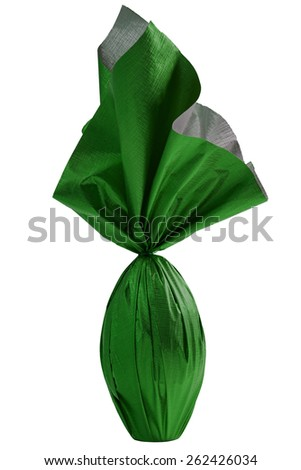Brazilian Easters egg , wrapped in green paper, on a white background. - stock photo
