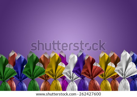 Brazilian Easters eggs, on a purple background. - stock photo